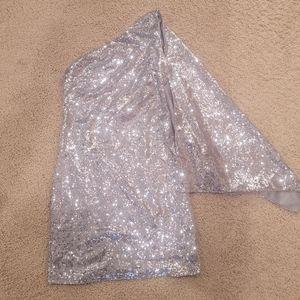 ASOS silver sequin one shoulder dress size 10